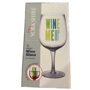 """NWT Yorkshire """"Wine Me Up"""" 27 oz wine glass"""